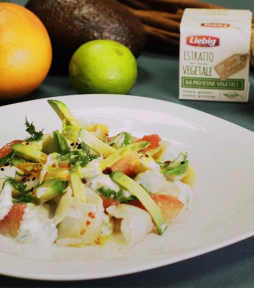 Carpaccio di baccalà marinato in salsa di Estratto per brodo vegetale Liebig