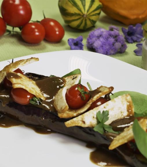 Melanzana all'estratto vegetale Liebig con scaglie di Tofu su crema di capperi e uvetta